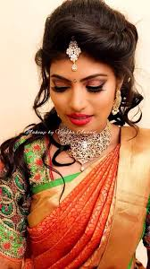 hair and makeup by vejetha for s pink lips south indian bride indian bridal makeup bridal silk saree saree blouse design bridal hair