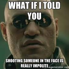 What if I told you Shooting someone in the face is really impolite ... via Relatably.com