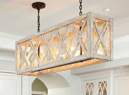 light fixtures including rectangular chandeliers add a modern look to kitchens