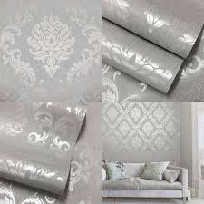 silver grey bedroom ideas luxury henderson interiors chelsea glitter damask wallpaper soft grey
