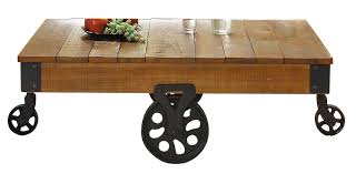 Mill Cart Coffee Table Amazoncom Homelegance Factory Modern Industrial Style Coffee