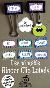 free printable binder clip labels for teachers and homeschoolers