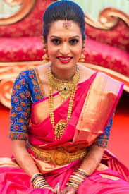 south indian bridal makeup for fuchsia pink shades with blues