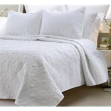 white king quilt set. Modren White Oversized  3 Piece 100 Cotton Quilted Coverlet Set White KingCalifornia  King 104 X 96 Inches WrinkleFade Resistant Light Weight Luxurious All Season  And Quilt K