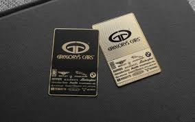 Steel Business Cards Gregorys Cars Gold Metal Business Card Lbc