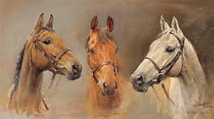 we three kings is an oil painting on board depicting the three iconic horses of british racing arkle red rum and desert orchid