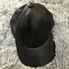 details about black leather snapback cap genuine leather famous america