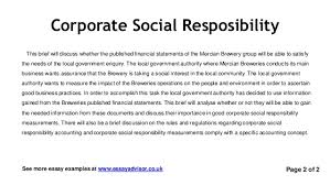 essay advisor essay example on corporate social responsibility corporate social responsibility page 1 of 1see more essay examples at essayadvisor co uk 2