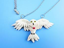 harry potter hedwig owl polymer clay necklace