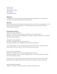 Heavy Equipment Operator Resume Objective Examples Free Template