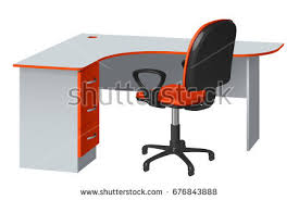 office desk cable hole. corner computer desk with cable hole and office chair, orange gray, on white