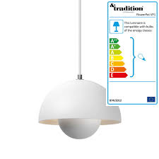 tradition flowerpot pendant lamp vp1 matte white