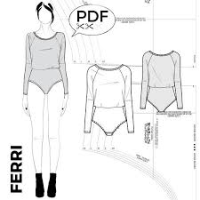 Bodysuit Sewing Pattern Awesome FERRI Bodysuit With Batwing Sleeves PDF Sewing Pattern