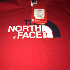 North Face Size Chart Junior North Face Red Youth Junior T Shirt Never Been Depop