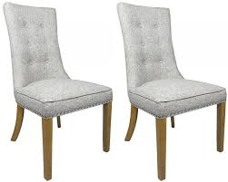 Patterned Dining Chairs Beauteous Pair Of Newbury Grey Weave Buttoned Fabric Dining Chairs