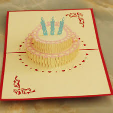3d Pop Up Greeting Card Handcrafted Birthday Cake Candles Happy