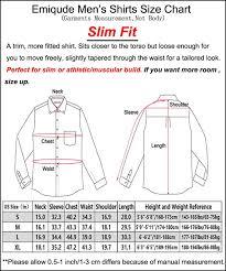 Men S Shirt Sizes Chart Emiqude Mens Casual Flannel Cotton Slim Fit Long Sleeve Plaid Dress Shirt