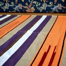 handwoven flat multicolored striped tangarine color cotton area rug loading zoom