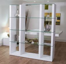 Aria Glass and White Oak Shelving Unit