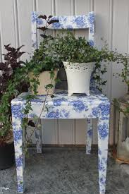 floral decoupage furniture. decoupage chair blue and white floral toile furniture