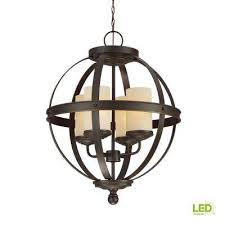 sfera 4 light autumn bronze chandelier with led bulbs