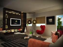 Decorations:Wonderful Stylish Room Decorating Idea Of Basement Interior  With Brick Walls Also Modular Coffee