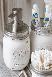mason jar crafts painted distressed bathroom organizer soap
