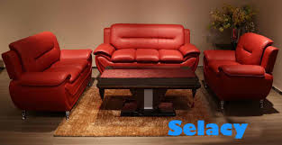 3 pc red leather sofa set