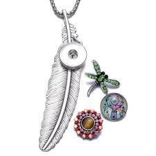 feather shape snaps pendant necklace 18mm snap on jewelry for snap jewelry with chain link length