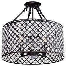 mariella 4 light crystal semi flush mount with drum shade brushed bronze