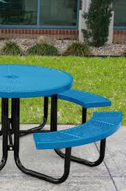 thermoplastic coated steel round picnic table with umbrella hole