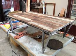 recycled wood and metal coffee table