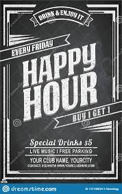 Chalkboard Sign Designs Happy Hour Chalkboard Sign Template Stock Vector