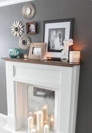 decorative fireplace cylindrical candlesticks pillar candles white