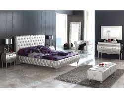 Modern Bedroom Set Modern Bedroom Set Lolita In Silver Finish Made In Spain 33b281