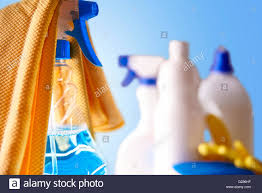 Professional Cleaning Equipment On White Table And Blue Background