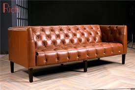 modern brown leather couch for hotel