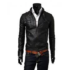 biker style mens slim fit black faux leather jacket zoom biker