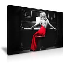 lady in red dress playing piano picture