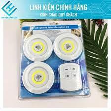 Bộ 3 Đèn LED Thông Minh Mini không dây điện, Điều Khiển Từ Xa, Có Chức Năng  Hẹn Giờ Từ Xa