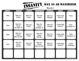Insanity Max 30 Workout Calendar Print A Workout Calendar