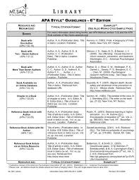 Apa Style Edition 6 Apa Citation Sheet Pdf