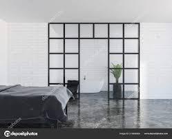 Moderne Schlafzimmer Innenraum Mit Weißen Wänden Einem Schwarzen