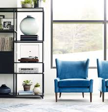 Wing Chairs For Living Room Marlow Upholstered Blue Wing Back Chair Zin Home