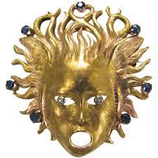 bianca e giorgio sapphire diamond gold medusa pendant brooch