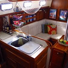 Boat Interior Design Ideas the same view port side we made the custom sink covercutting board out of starboard extra counter space