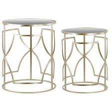 metal round nesting accent table with mirror top and round
