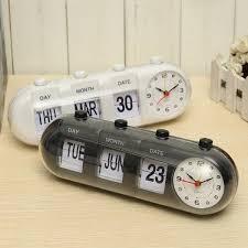 manual flip digital quartz alarm clock day date calendar time display