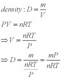 density equation chemistry. pv\u003dnrt | rearranges to v\u003dnrt/psubstitute and simplify density equation chemistry