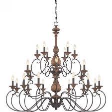 quoizel auburn three tier chandelier with 24 lights in rustic black